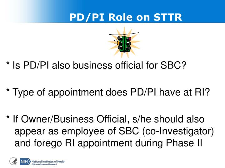 PD/PI Role on STTR
