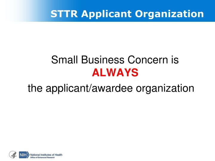 STTR Applicant Organization