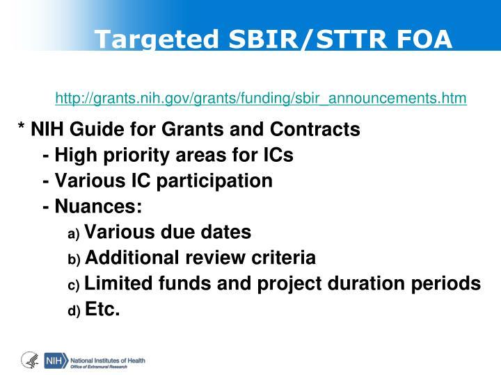 Targeted SBIR/STTR FOA