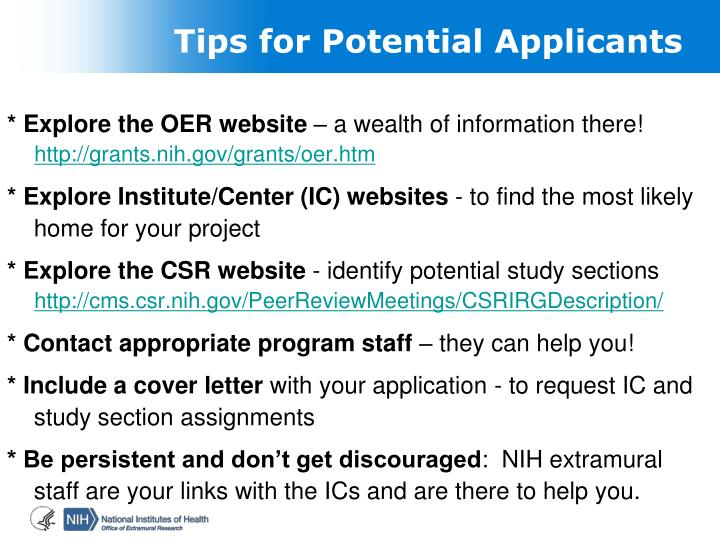 Tips for Potential Applicants