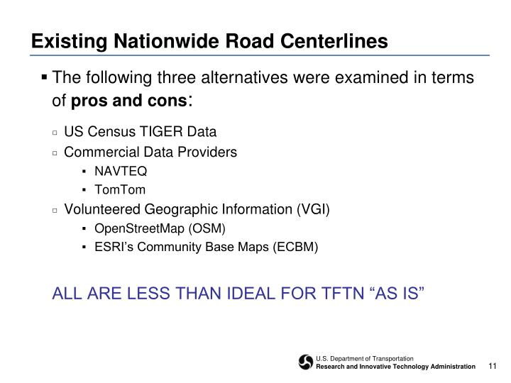 Existing Nationwide Road Centerlines