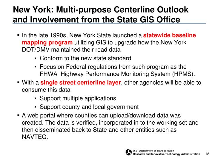 New York: Multi-purpose Centerline Outlook and Involvement from the State GIS Office