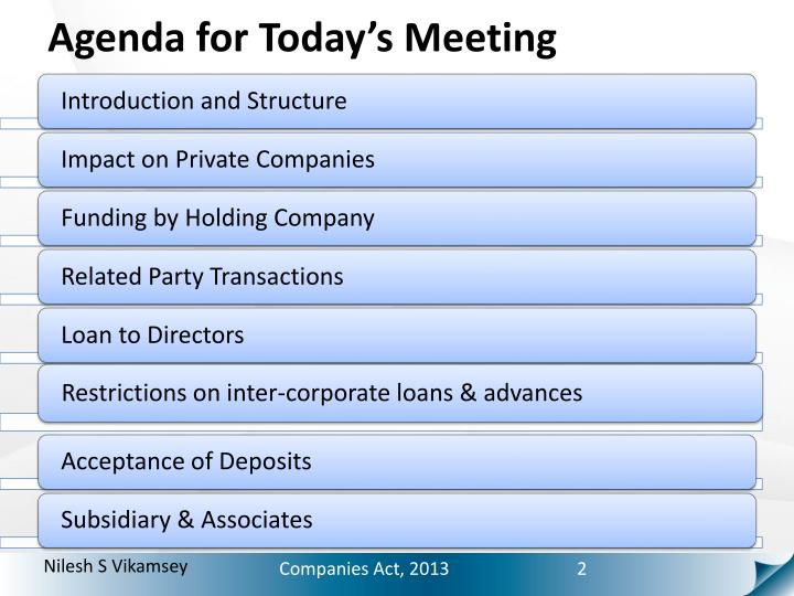 Agenda for Today's Meeting