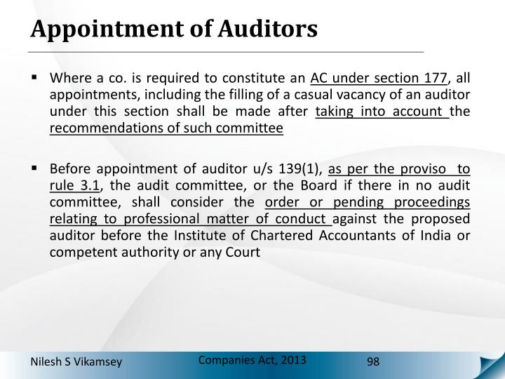Appointment of Auditors