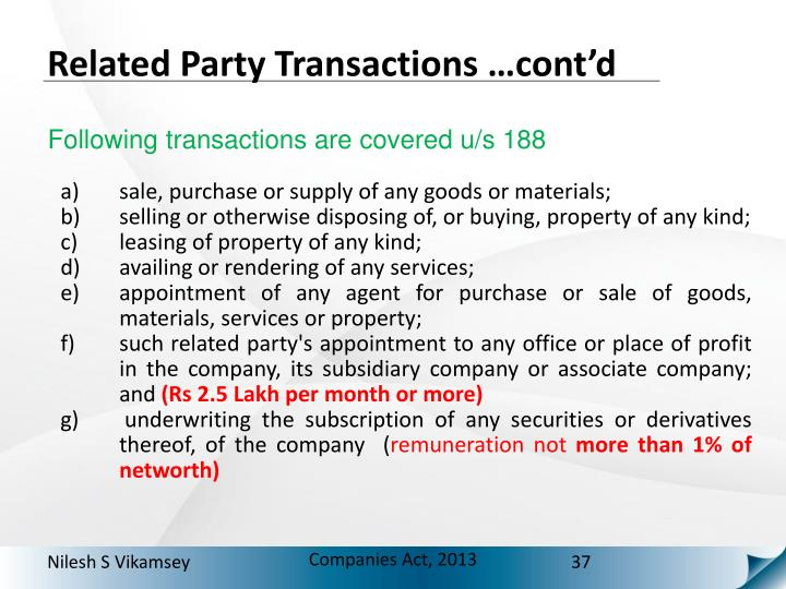 Related Party Transactions …cont'd