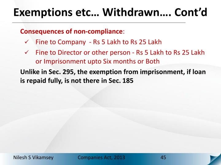 Exemptions etc… Withdrawn…. Cont'd