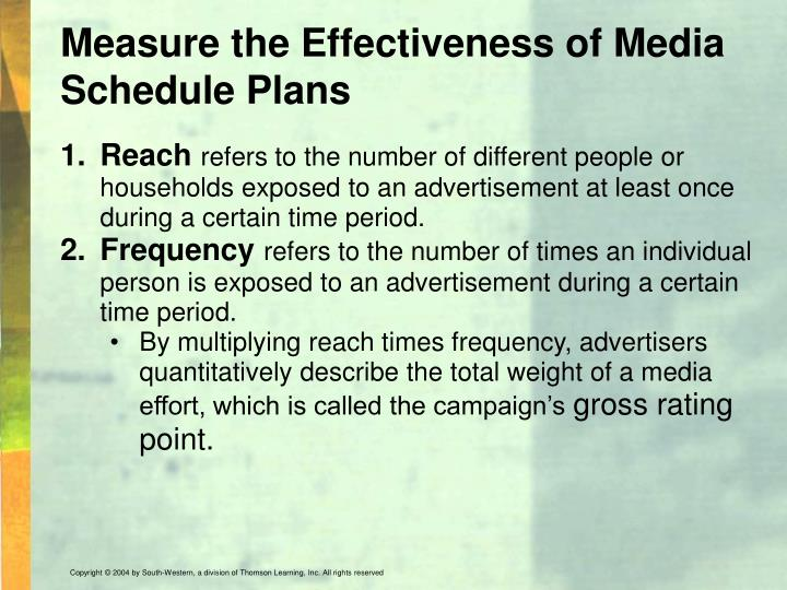 Measure the Effectiveness of Media Schedule Plans