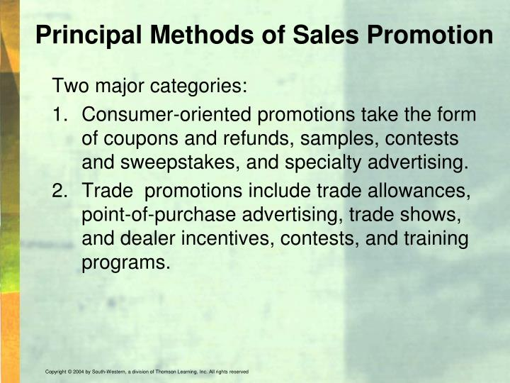 Principal Methods of Sales Promotion