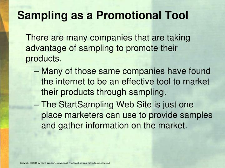 Sampling as a Promotional Tool