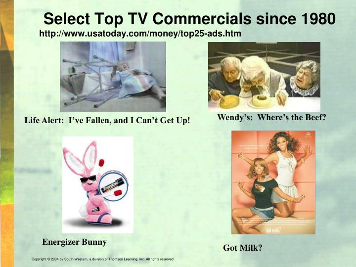 Select Top TV Commercials since 1980