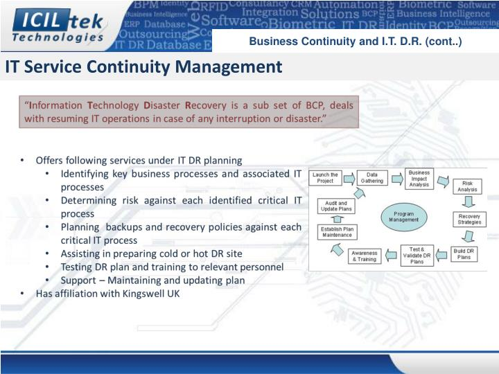 Business Continuity and I.T. D.R. (cont..)