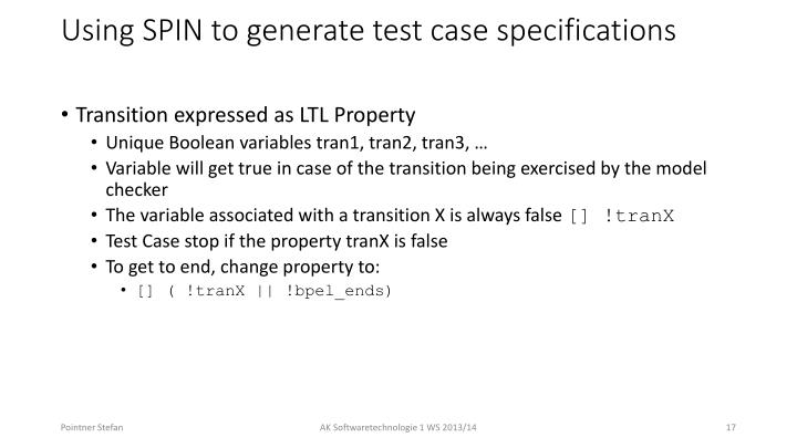 Using SPIN to generate test case specifications