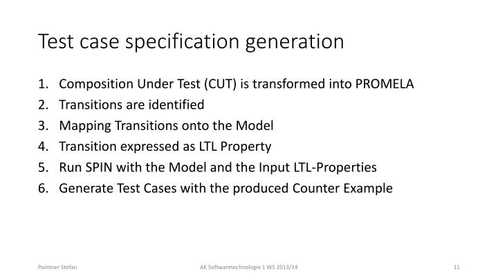 Test case specification generation