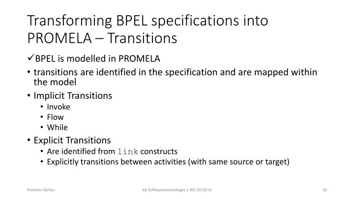 Transforming BPEL specifications into