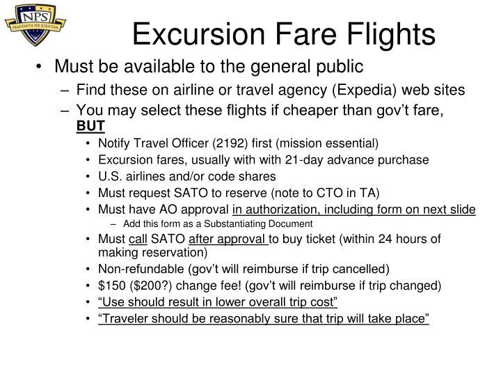 Excursion Fare Flights