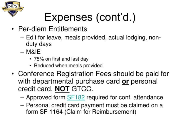 Expenses (cont'd.)