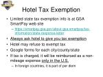 hotel tax exemption