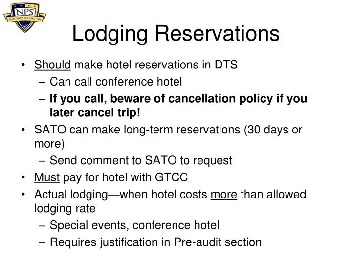 Lodging Reservations