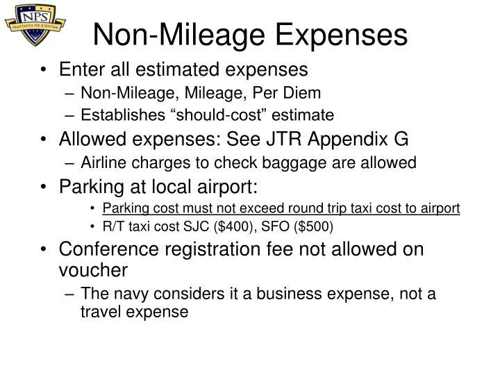 Non-Mileage Expenses