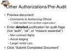 other authorizations pre audit