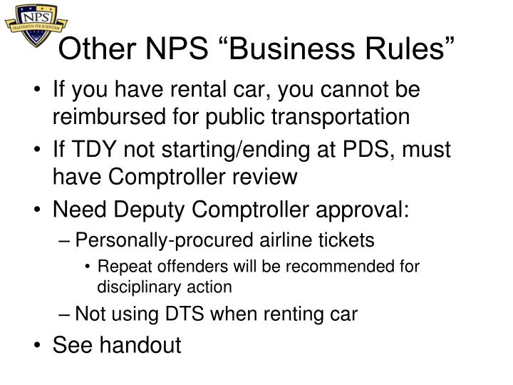"Other NPS ""Business Rules"""