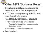 other nps business rules