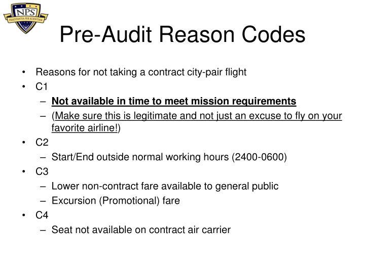 Pre-Audit Reason Codes