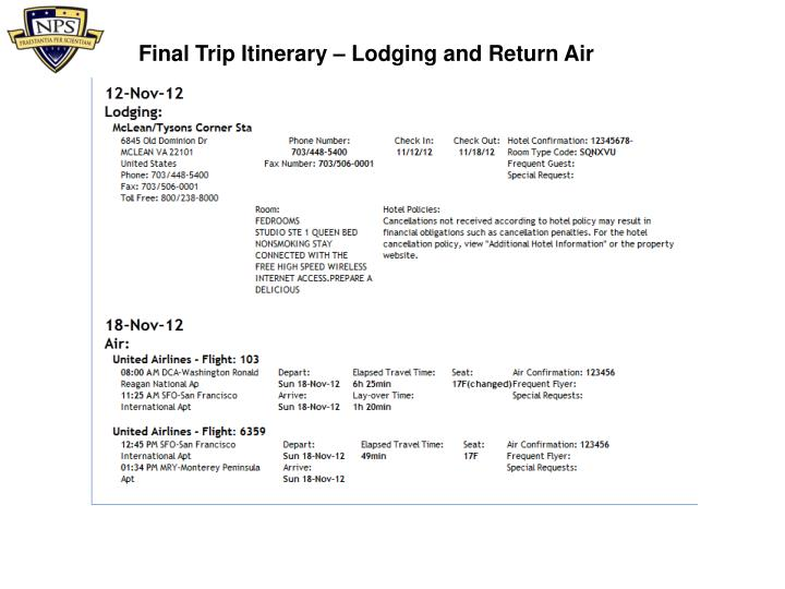 Final Trip Itinerary –