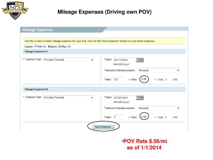 Mileage Expenses (Driving own POV)