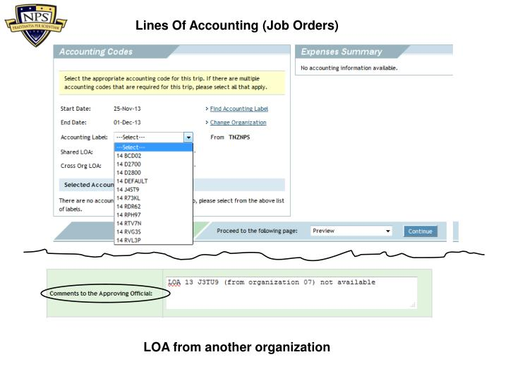 Lines Of Accounting (Job Orders)