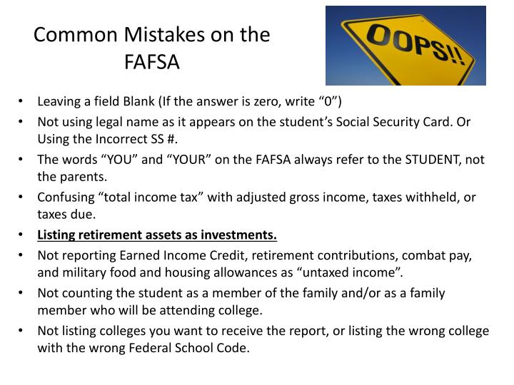 Common Mistakes on the FAFSA