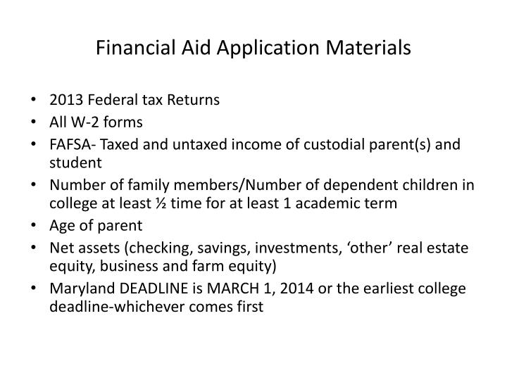 Financial Aid Application Materials