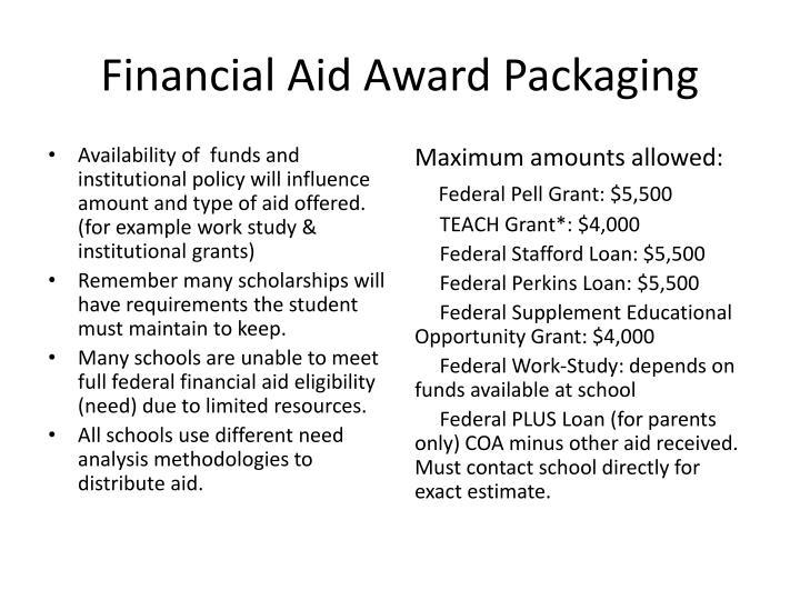 Financial Aid Award Packaging