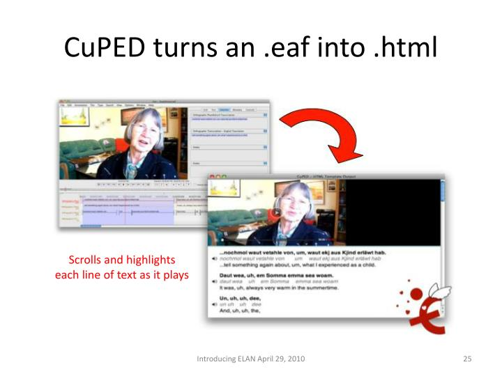 CuPED turns an .eaf into .html