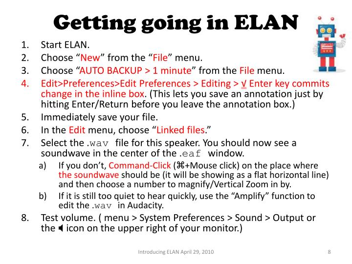 Getting going in ELAN