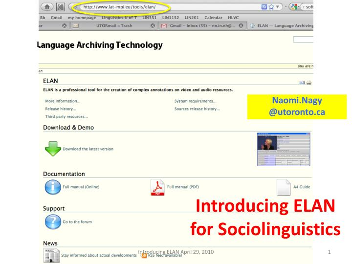 Introducing elan for sociolinguistics