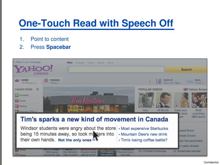 One-Touch Read with Speech