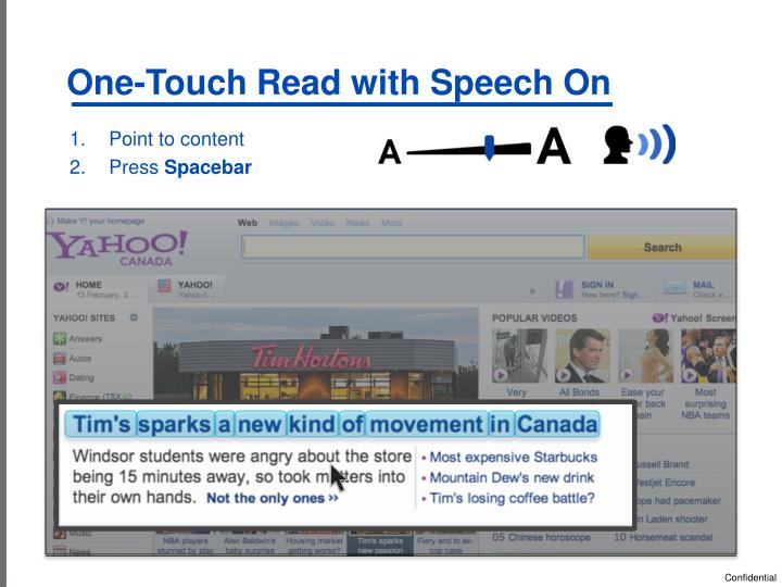 One-Touch Read with Speech On