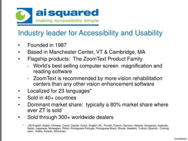 Industry leader for Accessibility and Usability