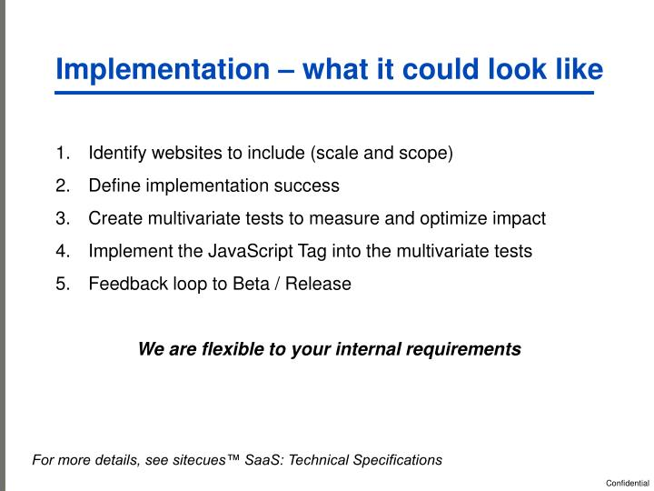 Implementation – what it could look like