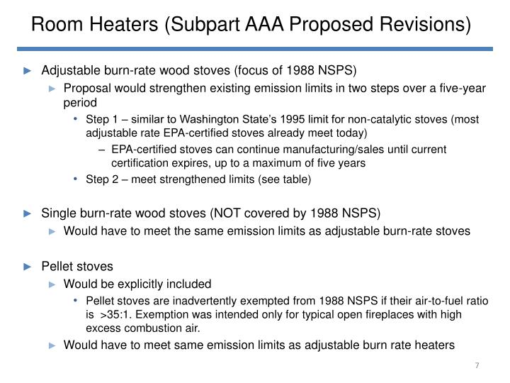 Room Heaters (Subpart AAA Proposed Revisions)