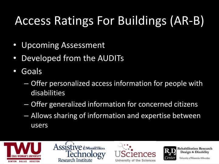 Access Ratings For Buildings (AR-B)