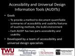 accessibility and universal design information tools audits