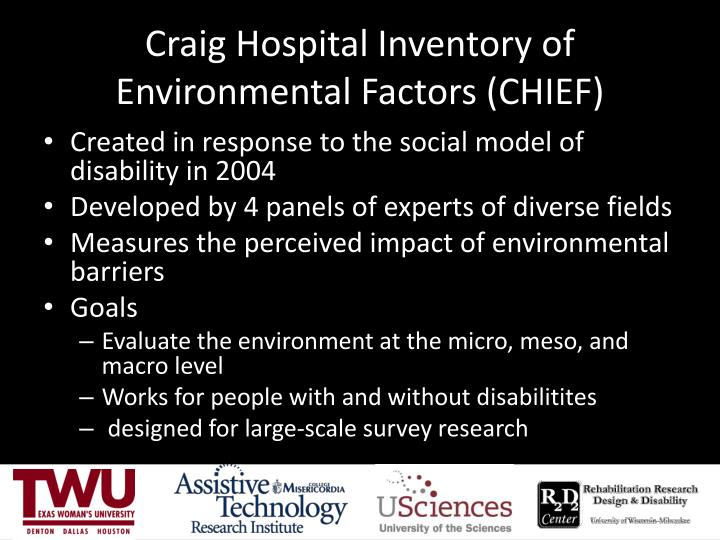 Craig Hospital Inventory of Environmental Factors (CHIEF)
