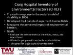 craig hospital inventory of environmental factors chief