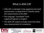 what is ada cat