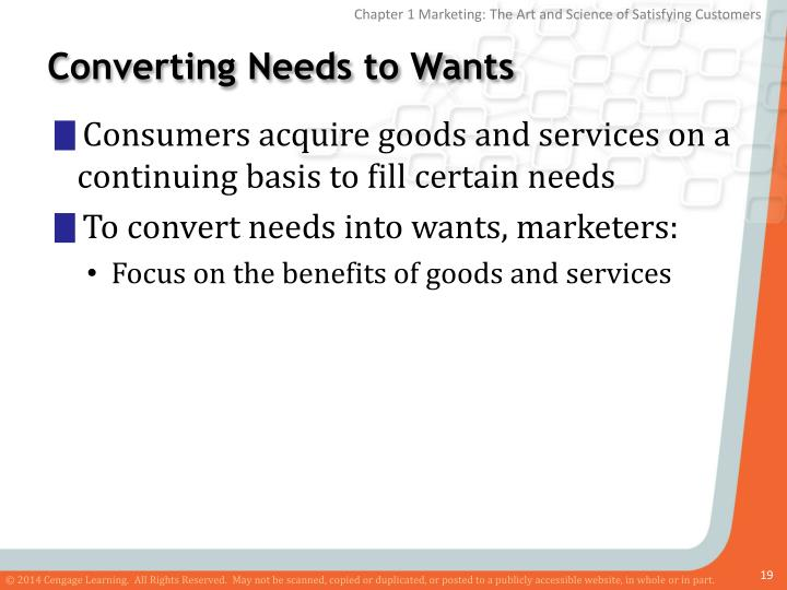 Converting Needs to Wants
