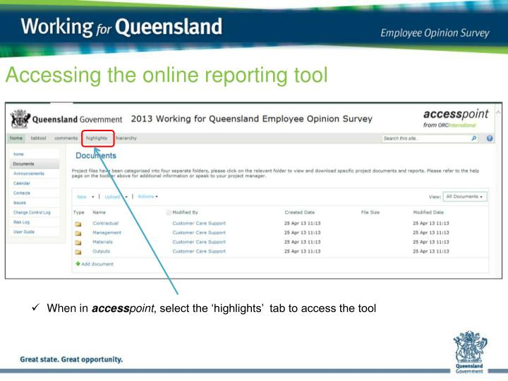 Accessing the online reporting tool