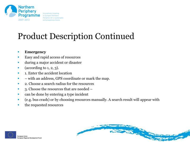 Product Description Continued