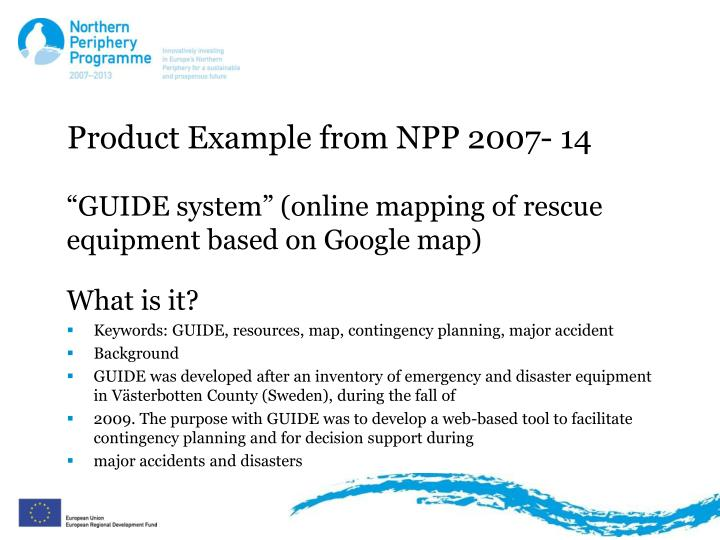 Product example from npp 2007 14